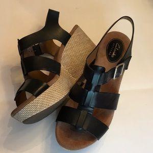 Women's Clark's Black Leather Wedge Sandal